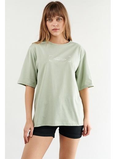 Levure Oversize Baskılı T-Shirt Yeşil